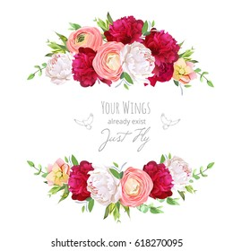 Burgundy red and white peonies, pink ranunculus, rose vector design frame.Delicate floral background. All elements are isolated and editable
