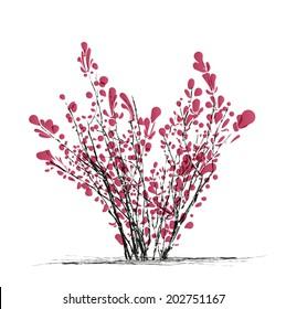 burgundy-leaved bushes, shrubs vector.