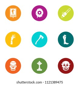 Burial icons set. Flat set of 9 burial vector icons for web isolated on white background