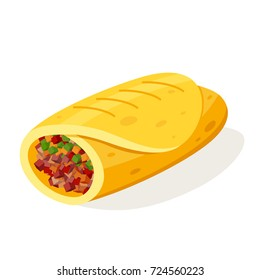 Burito mexican food. Favorite portable meal, soft, warm tortilla wrapped with juicy spicy fillings. Vector flat style cartoon illustration isolated on white background