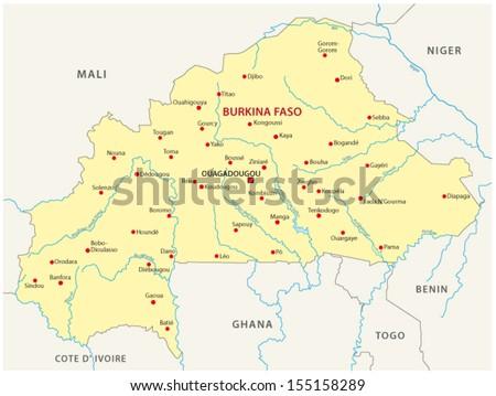 Burkina Faso Map Stock Vector (Royalty Free) 155158289 - Shutterstock