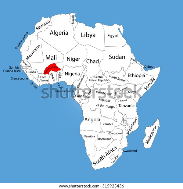 Burkina Faso Vector Map Silhouette Isolated Stock ...