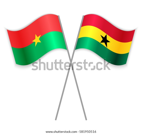 Burkinabe and Ghanaian crossed flags. Burkina Faso combined with Ghana isolated on white. Language learning, international business or travel concept.
