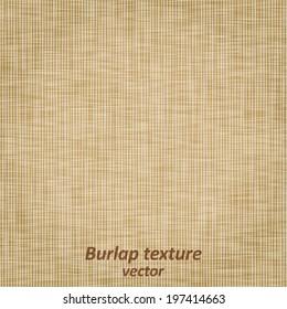Burlap sack fabric canvas linen flax scrim cloth  textile material texture background, vector illustration