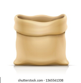 Burlap sack for products. Housekeeping and agriculture equipment. Open hessian bag for cargo. Isolated white background. Eps10 vector illustration.