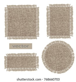 Burlap. Vector organic weave, canvas burlap, fringed at the edge, the label of organic products.