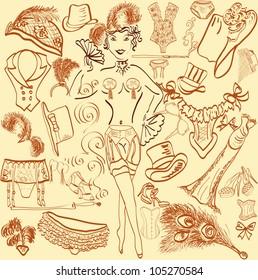 burlesque cabaret accessories, underwear and clothes