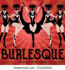 Burlesque show poster invitation. Vector illustration in vintage Art Deco style of dancing cabaret girls.
