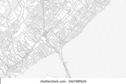 Burlington, Ontario, Canada, bright outlined vector map with bigger and minor roads and steets created for infographic backgrounds.