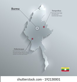 Burma Myanmar map flag glass card paper 3D raster
