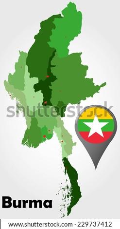 Burma Political Map.Burma Myanmar Political Map Green Shades Stock Vector Royalty Free