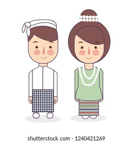 Burmese couple traditional national clothes of Myanmar. Set of cartoon characters in traditional costume. Cute people. Vector flat illustrations.