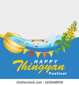Burmese New Year Festival, Water Festival Vector Illustration