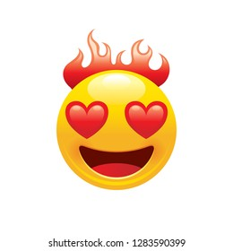 Burn fire emoji icon. 3d face smile for love chat, message design Realistic symbol for Valentine's day sticker. Cute cartoon social network sign. Vector illustration isolated white background.