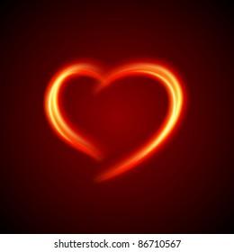 Burn heart shape flame fire vector background eps 10