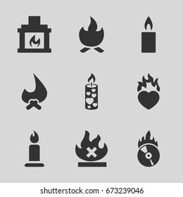 Burn icons set. set of 9 burn filled icons such as candle, no fire, heart in fire, cd fire, fireplace