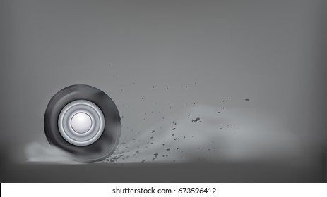 burn out car wheel on dark