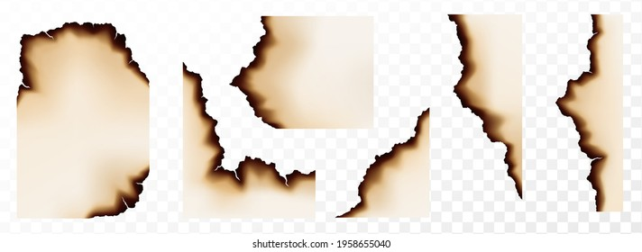 Burn paper borders, set of burnt pages with smoldering fire on charred uneven edges, parchment sheets in ash. Burned, torn or ripped frame. Realistic 3d vector illustration