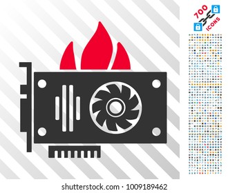 Burn Video Graphics Card icon with 700 bonus bitcoin mining and blockchain pictures. Vector illustration style is flat iconic symbols designed for crypto currency apps.