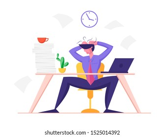 Burned Down Businessman in Depression Sitting at Office Desk with Heap of Paper Documents and Laptop Tearing Hair on Head Overloaded. Worker Stress and Deadline Concept. Flat Vector Illustration