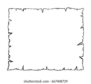 Burned old paper, parchment outline silhouette vector symbol icon design. Beautiful illustration isolated on white background