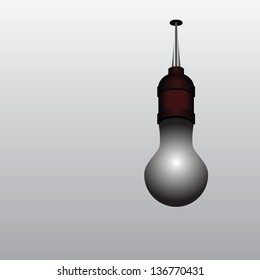 Burned out light bulb on the ceiling. Vector illustration.