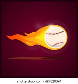 Burning baseball. Illustration on the theme of sport