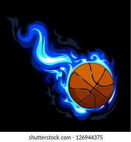 Burning basketball on black background. Vector illustration.