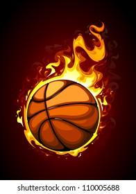 Burning basketball. Vector illustration.
