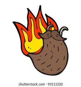 burning beard cartoon