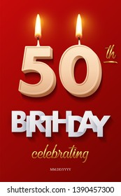 Burning Birthday candle in the form of number 50 figure and Happy Birthday celebrating text with party cane isolated on red background. Vector fiftieth Birthday invitation template
