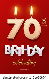 Burning Birthday candle in the form of number 70 figure and Happy Birthday celebrating text with party cane isolated on red background. Vector seventieth Birthday invitation template
