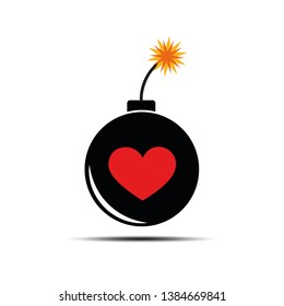 burning bomb with heart for dangerous love and passion vector illustration EPS10
