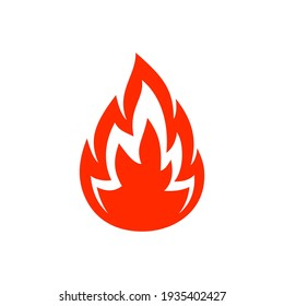 Burning bonfire or campfire, hot ignite symbol isolated flat cartoon icon. Vector flaming fire blazes, orange blazing fire flame ignition. Fiery firewood, passion and danger sign, flammable warning
