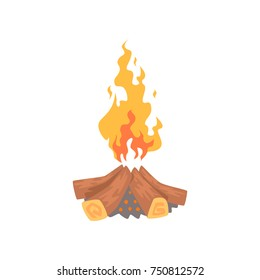 Burning bonfire campfire logs cartoon vector Illustration on a white background