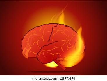 Burning brain in flames