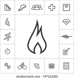 burning calories. fit, cardio, training icon set on white background