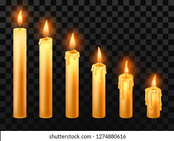 Burning candle. Burn church candles, wax fire and xmas candle. Holiday christmas wick burns burns relax lit flicker or religion church candles. Isolated realistic vector objects set