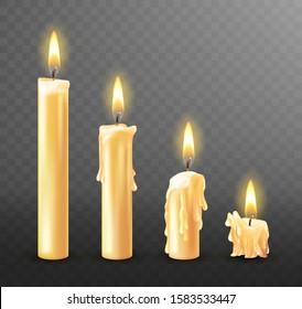 Burning candle with dripping or flowing wax, realistic vector illustration. White candles with golden flame lit and melted wax isolated on transparent background. Church or Christmas collection