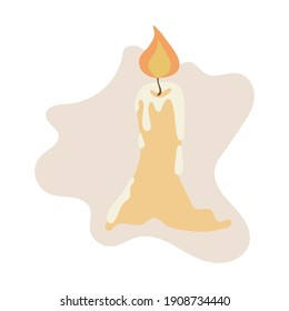 Burning candle with dripping wax. Simple flat illustration. Stock vector illustration isolated on white background. One lit candle icon. Wax candle on abstract spot background.