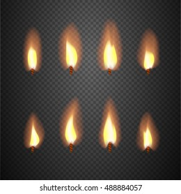 Burning candle flame animation vector frames. Burning wick isolated on checkered background illustration