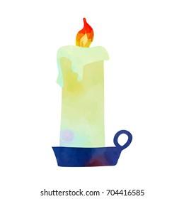 Burning candle. Funny cartoon clip art illustration on isolated background. Watercolour imitation.
