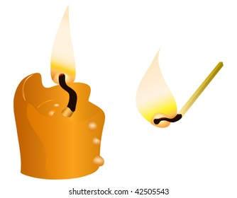 Burning candle and match isolated on white background.