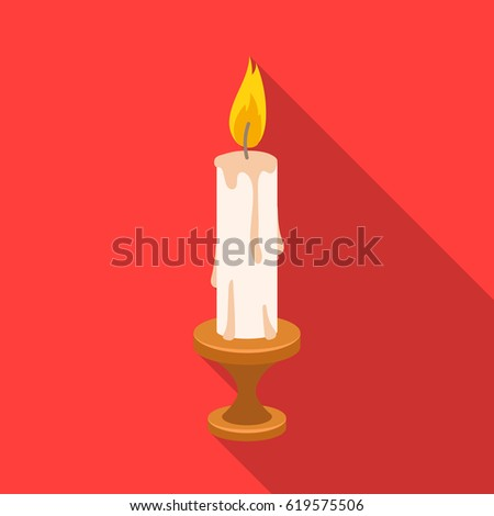 Burning Candle Paraffin Wax Easter Single Stock Vector