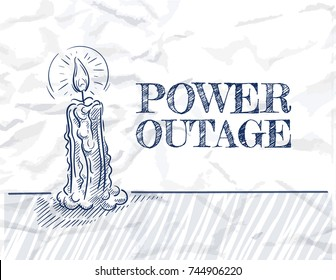 Burning candle. Power outage concept. No power. Sketch style vector illustration.