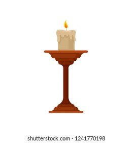 Burning candle in small candlestick, vintage copper candle holder vector Illustration on a white background