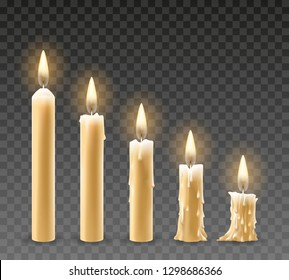 Burning candles. Burn isolated candle objects, flicker church candles at different stages of burning vector illustration