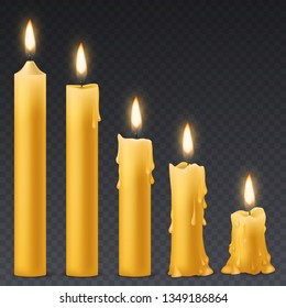 Burning candles. Candlelight romantic birthday holiday wax 3d burn out candle with flicker fire celebration symbol isolated vector collection