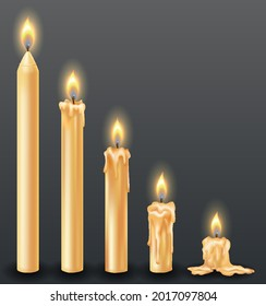 Burning candles with dripping or flowing wax. Yellow candles with golden flame. Lit and melted wax. Arranged from tall to low. Illustration of beautiful glowing candles on dark background
