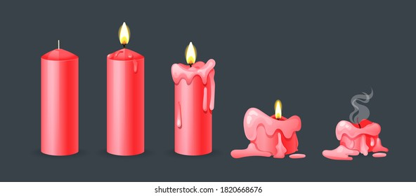 Burning candles flame set. Cartoon burning red wax candles on the different stages of burning from a whole before an extinguished candle to cinder vector illustration